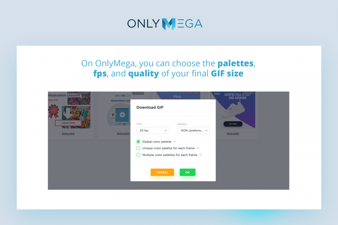 OnlyMega Download Gif options and settings for optimization